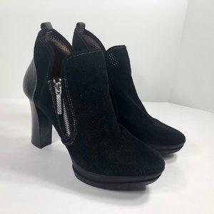 Donald J Pliner Malta Black Suede Zip Ankle Boots